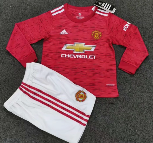 Manchester United 20/21 Kids Home LS Soccer Jersey and Short Kit