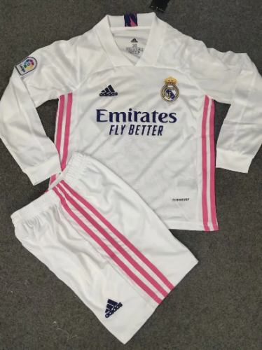 Real Madrid 20/21 Kids Home LS Soccer Jersey and Short Kit