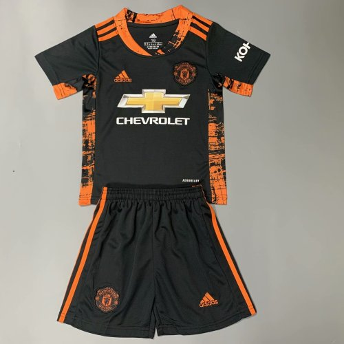 Manchester United 20/21 Kids Goalkeeper Soccer Jersey and Short Kit-Black