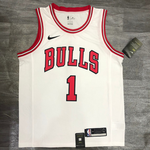 Thai Version Derrick Rose Men's White Player Jersey - Classic Edition