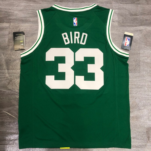 Thai Version Larry Bird Men's Green Player Jersey- Icon Edition