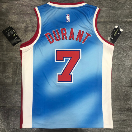 Thai Version Kevin Durant Men's Blue Player Jersey- Retro Classic Edition