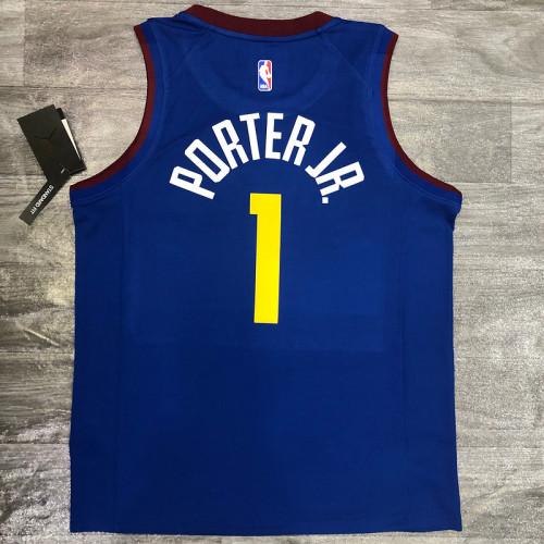 Thai Version Michael Porter Jr Men's Blue Player Jersey- City Edition