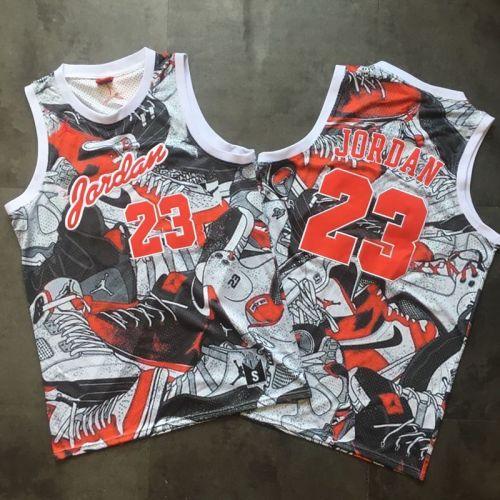 Men's Michael Jordan Gray And Red Retro Classic Team Jersey