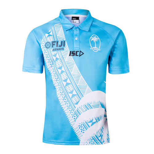 Fiji 2019 7'S Blue Mens Rugby Polo Shirt
