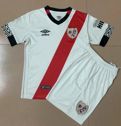 Rayo Vallecano 20/21 Kids Home Soccer Jersey and Short Kit