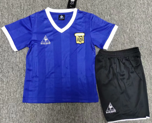 Argentina 1986 Kids Away Retro Soccer Jersey and Short Kit