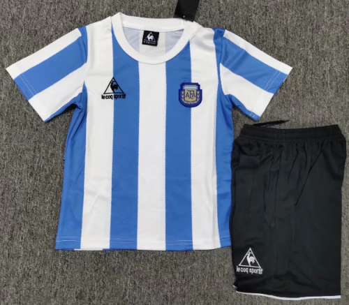 Argentina 1986 Kids Home Retro Soccer Jersey and Short Kit