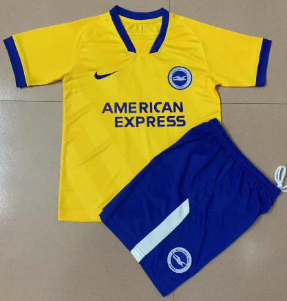 Brighton & Hove Albion 20/21 Kids Away Soccer Jersey and Short Kit