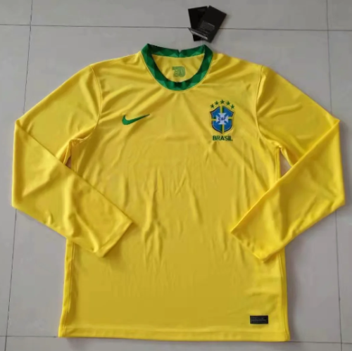 Thai Version Brazil 2020 LS Home Soccer Jersey