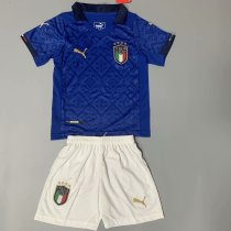 Kids Italy 2021 Home Soccer Jersey and Short Kit