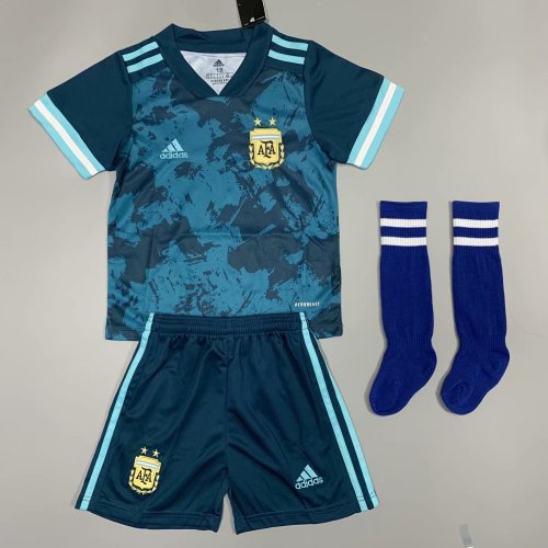 Argentina 2020 Kids Away Soccer Jersey and Short Kit
