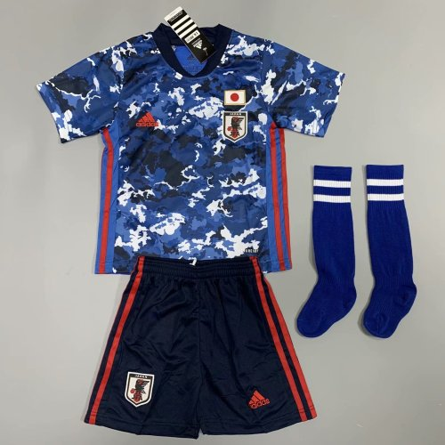 Japan 2020 Kids Home Soccer Jersey and Short Kit