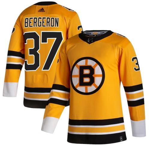 Men's Patrice Bergeron Yellow 2020-21 Reverse Retro Player Team Jersey