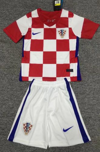 Croatia 2020 Kids Home Soccer Jersey and Short Kit