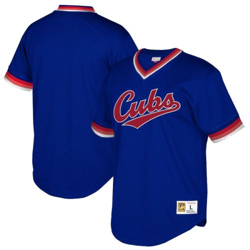 Youth Navy Cooperstown Collection Mesh Wordmark V-Neck Throwback Jersey