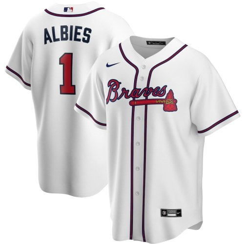 Men's Ozzie Albies White Home 2020 Player Team Jersey