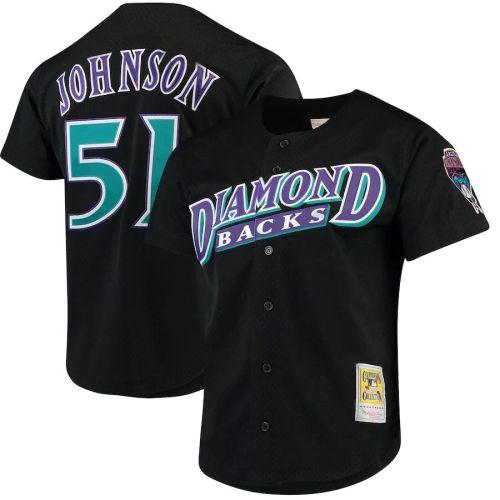 Men's Randy Johnson Black Fashion Cooperstown Collection Mesh Batting Practice Throwback Jersey