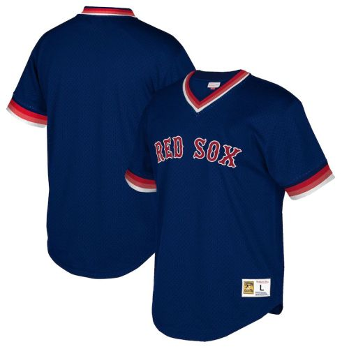 Men's Navy Cooperstown Collection Mesh Wordmark V-Neck Throwback Jersey