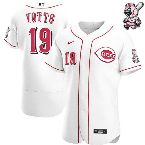 Men's Joey Votto White Home 2020 Authentic Player Team Jersey