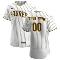 Men's White&Brown 2020 Home Authentic Custom Team Jersey