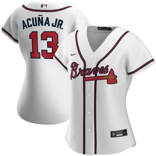 Women's Ronald Acuna Jr. White Home 2020 Player Team Jersey