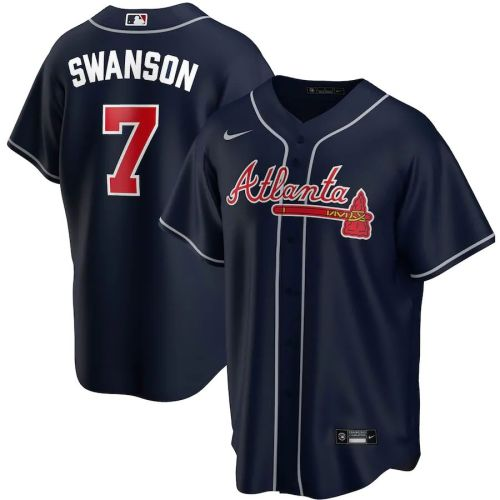 Men's Dansby Swanson Navy Alternate 2020 Player Team Jersey