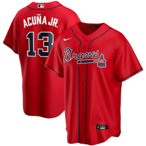 Men's Ronald Acuna Jr. Red Alternate 2020 Player Team Jersey