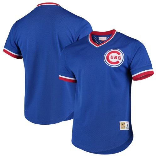 Men's Royal Cooperstown Collection Mesh Primary Logo V-Neck Throwback Jersey