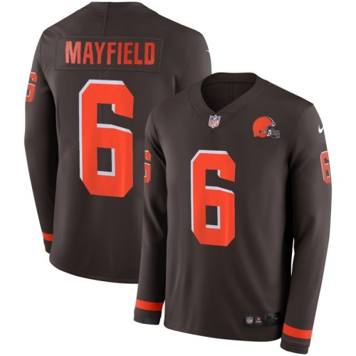 Men's Baker Mayfield Black Therma Long Sleeve Player Limited Team Jersey