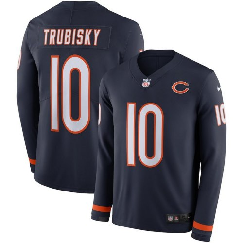 Men's Mitchell Trubisky Black Therma Long Sleeve Player Limited Team Jersey