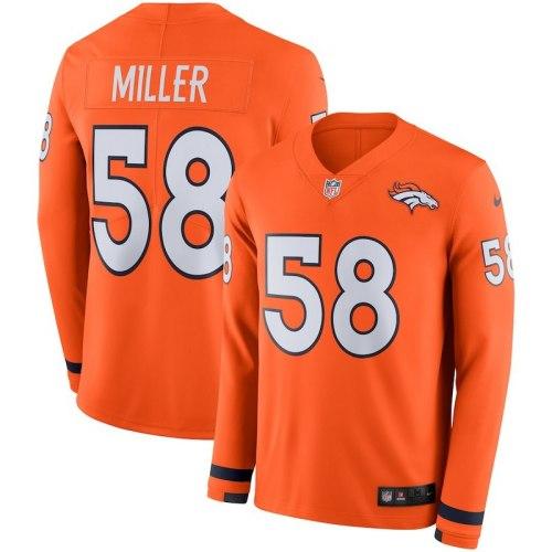 Men's Von Miller Orange Therma Long Sleeve Player Limited Team Jersey