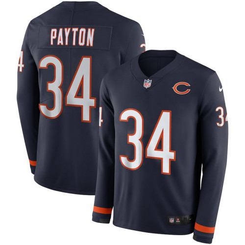 Men's Walter Payton Black Therma Long Sleeve Player Limited Team Jersey
