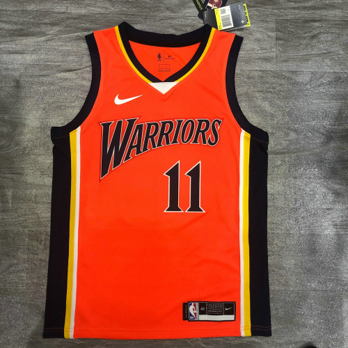Thai Version Men's Klay Thompson Orange Player Jersey - Retro Classical Edition