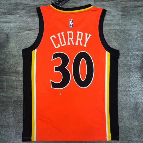 Thai Version Men's Stephen Curry Orange Player Jersey - Retro Classical Edition