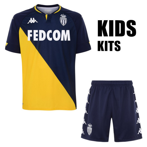 AS Monaco 20/21 Kids Away Soccer Jersey and Short Kit