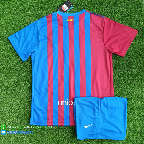 (Discount) Barcelona 21/22 Home Soccer Jersey and Short Kit