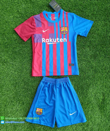 Barcelona 21/22 Kids Home Soccer Jersey and Short Kit