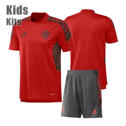Kids Flamengo 2021 Red Training Jersey and Short Kit