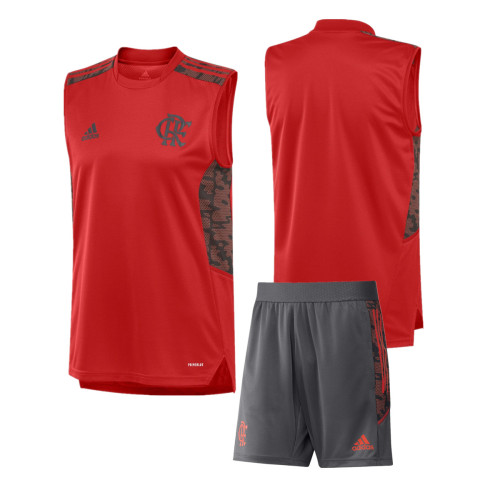 Flamengo 2021 Red Training Sleeveless Jersey and Short Kit