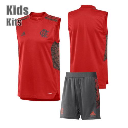 Kids Flamengo 2021 Red Training Sleeveless Jersey and Short Kit