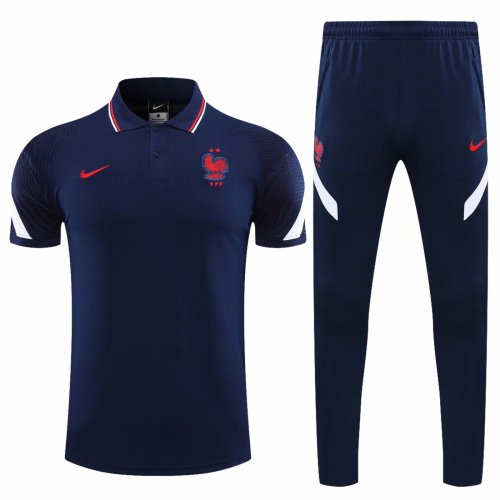France 20/21 Polo and Pants Kits Navy Blue