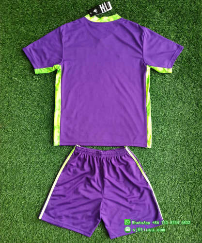 Kids Tigres UANL 2021 Purple Goalkeeper Jersey and Short Kit