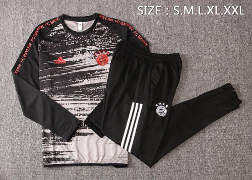 Bayern Munich 20/21 Drill Tracksuit Black and Grey B433#