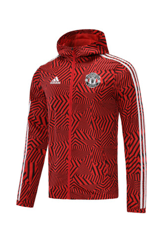 Manchester United 21/22 Windbreaker Red and Black