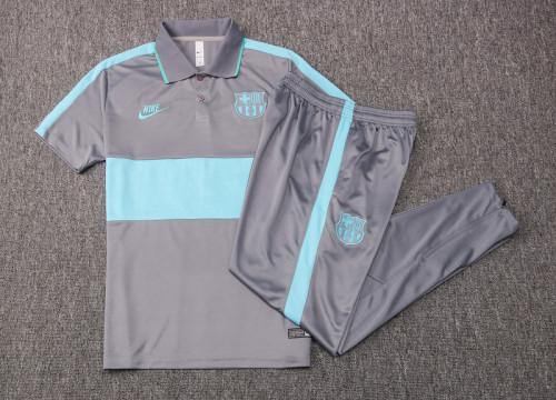 Barcelona 20/21 Pre-Match Polo Kit Grey and Green C414#
