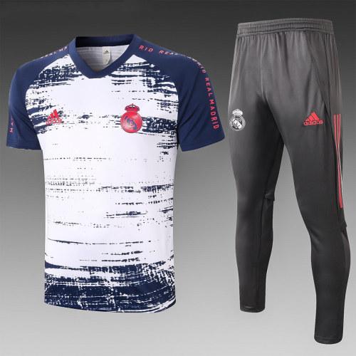 Real Madrid 20/21 Training Kit White and Navy C584#