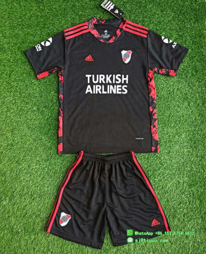 Kids River Plate 2021 Goalkeeper Jersey and Short Kit
