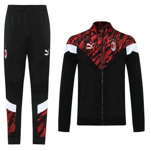 AC Milan 21/22 Jacket Tracksuit Black and Red CX11