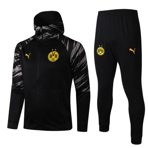 Borussia Dortmund 20/21 Full-Zip Hoodie Tracksuit Black F293#